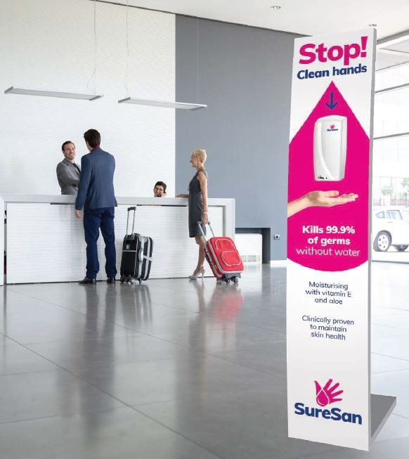 XP SANITIZER 1.55M DISPLAY & STAND WITH AUTOMATIC TOUCH FREE DISPENSER