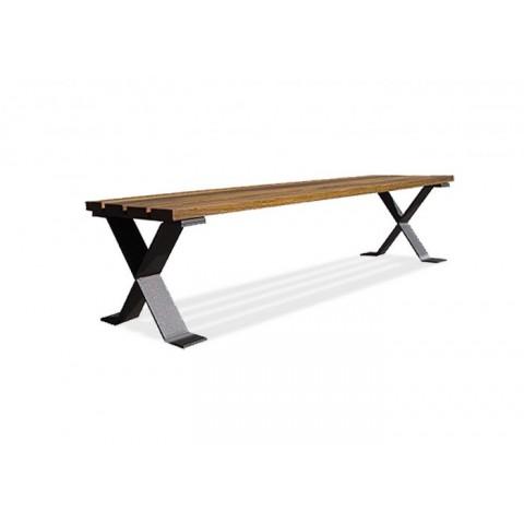 Eston Stainless Steel Frame Hardwood Bench